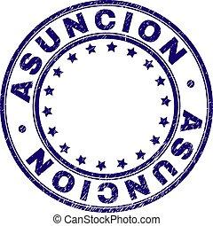 Grunge Textured ASUNCION Round Stamp Seal