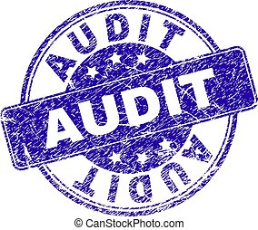AUDIT stamp seal imprint with distress style. Designed with rounded rectangle and circles. Blue vector rubber print of AUDIT text with scratched style.