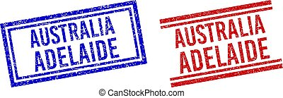 Grunge Textured AUSTRALIA ADELAIDE Stamps with Double Lines