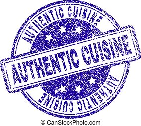 Grunge Textured AUTHENTIC CUISINE Stamp Seal