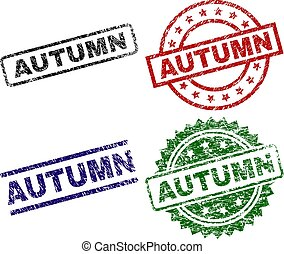 Grunge Textured AUTUMN Seal Stamps