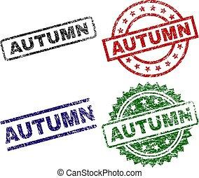 Grunge Textured AUTUMN Seal Stamps