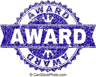 Grunge Textured AWARD Stamp Seal with Ribbon