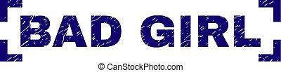 Grunge Textured BAD GIRL Stamp Seal Inside Corners - BAD...
