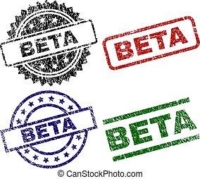 Grunge Textured BETA Seal Stamps