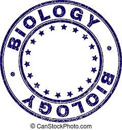 Grunge Textured BIOLOGY Round Stamp Seal - BIOLOGY stamp...