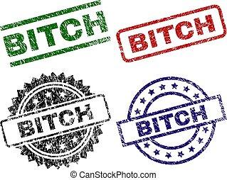 Grunge Textured BITCH Seal Stamps