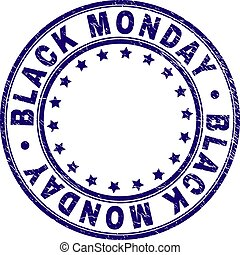 Grunge Textured BLACK MONDAY Round Stamp Seal