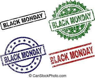 Grunge Textured BLACK MONDAY Seal Stamps
