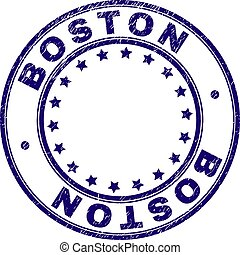 Grunge Textured BOSTON Round Stamp Seal