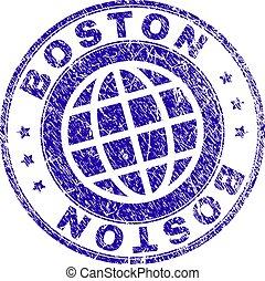 Grunge Textured BOSTON Stamp Seal