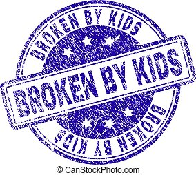 Grunge Textured BROKEN BY KIDS Stamp Seal