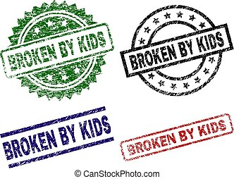 Grunge Textured BROKEN BY KIDS Stamp Seals