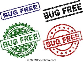 Grunge Textured BUG FREE Seal Stamps
