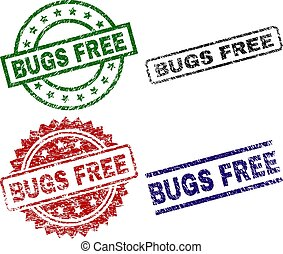 Grunge Textured BUGS FREE Seal Stamps