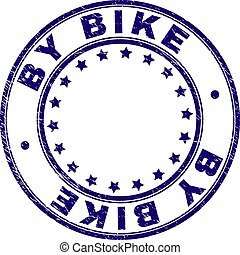 Grunge Textured BY BIKE Round Stamp Seal