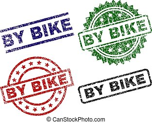 Grunge Textured BY BIKE Seal Stamps