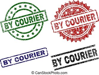 Grunge Textured BY COURIER Stamp Seals