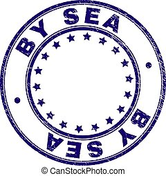 Grunge Textured BY SEA Round Stamp Seal