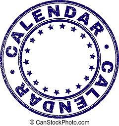 Grunge Textured CALENDAR Round Stamp Seal - CALENDAR stamp...