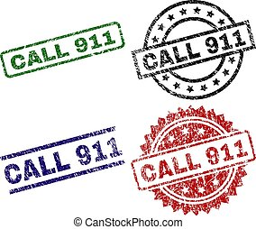 Grunge Textured CALL 911 Stamp Seals