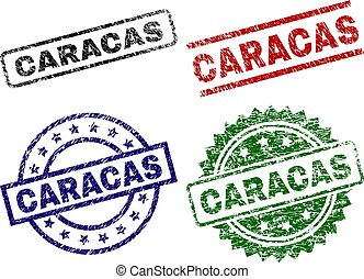 Grunge Textured CARACAS Seal Stamps