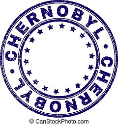CHERNOBYL stamp seal imprint with distress texture. Designed with round shapes and stars. Blue vector rubber print of CHERNOBYL text with unclean texture.