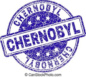 CHERNOBYL stamp seal watermark with grunge texture. Designed with rounded rectangles and circles. Blue vector rubber print of CHERNOBYL title with grunge texture.