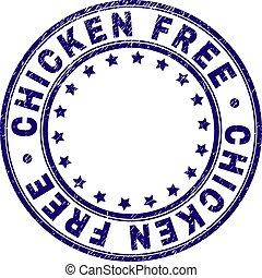 Grunge Textured CHICKEN FREE Round Stamp Seal