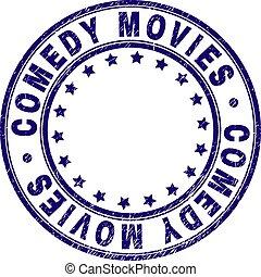 Grunge Textured COMEDY MOVIES Round Stamp Seal