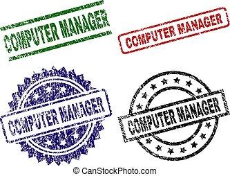 Grunge Textured COMPUTER MANAGER Stamp Seals