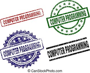 Grunge Textured COMPUTER PROGRAMMING Seal Stamps