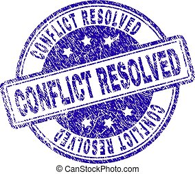 Grunge Textured CONFLICT RESOLVED Stamp Seal