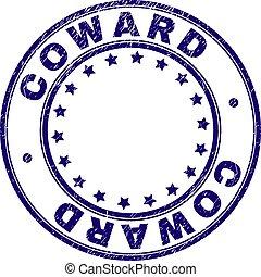 Grunge Textured COWARD Round Stamp Seal