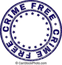 Grunge Textured CRIME FREE Round Stamp Seal
