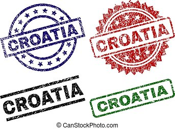 Grunge Textured CROATIA Stamp Seals