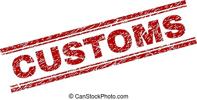 Grunge Textured CUSTOMS Stamp Seal - CUSTOMS seal print with...