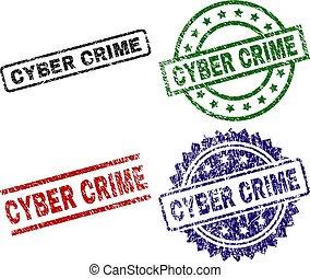 Grunge Textured CYBER CRIME Stamp Seals