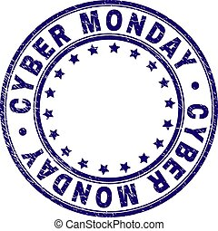 Grunge Textured CYBER MONDAY Round Stamp Seal
