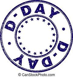 Grunge Textured D-DAY Round Stamp Seal - D-DAY stamp seal...