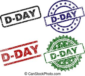Grunge Textured D-DAY Seal Stamps - D-DAY seal stamps with...