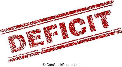 Grunge Textured DEFICIT Stamp Seal - DEFICIT seal print with...