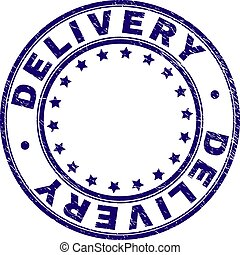 Grunge Textured DELIVERY Round Stamp Seal - DELIVERY stamp...