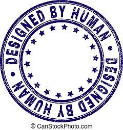 Grunge Textured DESIGNED BY HUMAN Round Stamp Seal