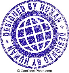 Grunge Textured DESIGNED BY HUMAN Stamp Seal