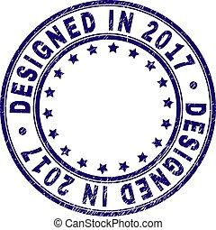 Grunge Textured DESIGNED IN 2017 Round Stamp Seal