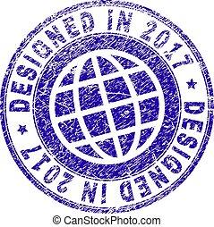 Grunge Textured DESIGNED IN 2017 Stamp Seal