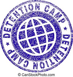 DETENTION CAMP stamp imprint with grunge texture. Blue vector rubber seal imprint of DETENTION CAMP tag with grunge texture. Seal has words arranged by circle and planet symbol.