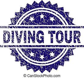 Grunge Textured DIVING TOUR Stamp Seal