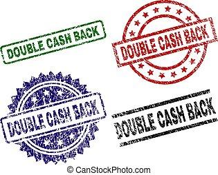 Grunge Textured DOUBLE CASH BACK Stamp Seals